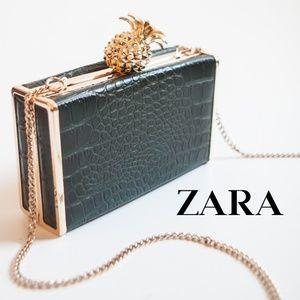 Zara Pineapple Crossbody Clutch Minaudiere